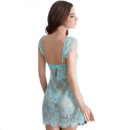 性感裙装--透明蕾丝性感低胸吊带裙 极度诱惑透视制服真人sm