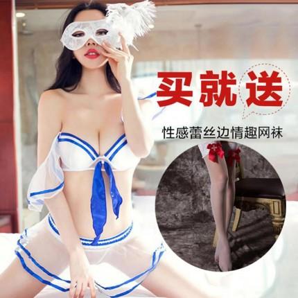 制服诱惑-金梦蝶-买就送精美网袜 金梦蝶 海军风透明薄纱三点式水手服