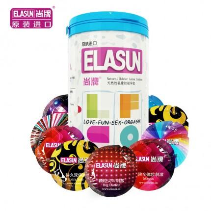 螺纹刺激-ELASUN尚牌-尚牌 五合一罐装情趣避孕套 中号 24只装