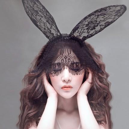 性感裙装--蕾丝面纱眼罩兔子耳朵发箍