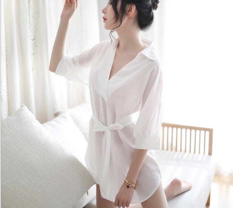 性感裙装-霏慕-睡裙夏季薄款透明性感睡衣污衣学生火辣诱惑老公裙
