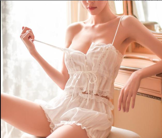 性感裙装-霏慕-好奇小姐复古宫廷风吊带裹胸睡衣女透气纯棉性感诱惑情趣内衣