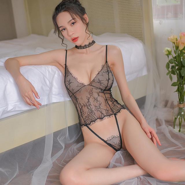 连体网衣-霏慕-女士情趣内衣性感蕾丝透视装吊带镂空露背连体衣制服诱惑