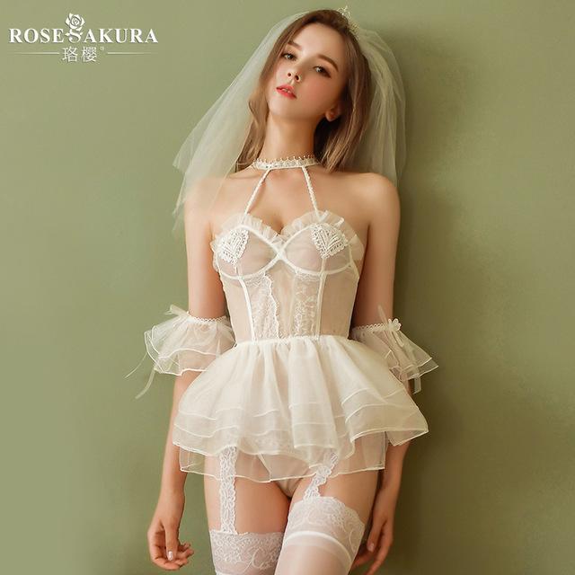 性感裙装-珞樱-珞樱情趣内衣透视浪漫新娘装性感制服诱惑网纱睡裙套装